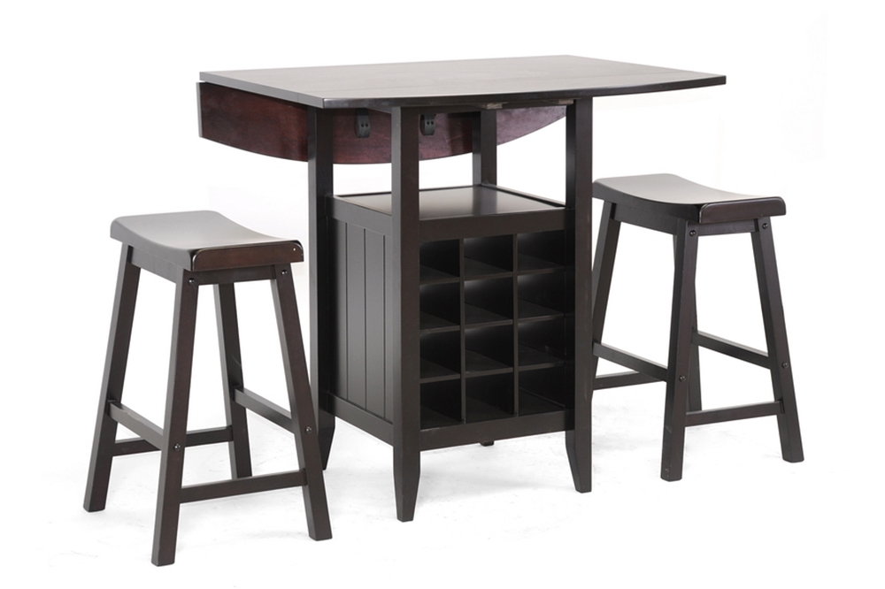 Baxton Studio Reynolds Black Wood 3 Piece Modern Drop Leaf Pub Set With Wine Rack Bar