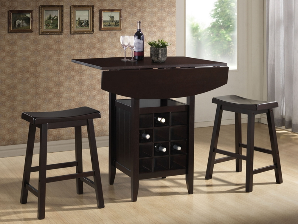 Baxton studio reynolds black wood 3 piece modern drop leaf for 3 piece dining room
