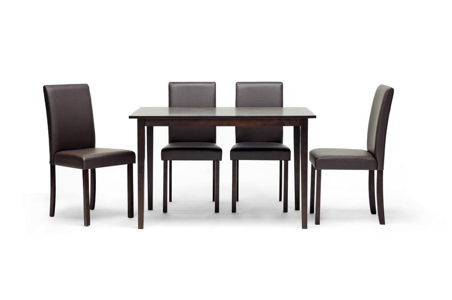 Baxton Studio Susan Brown Wood 5 Piece Modern Dining Set   BSOSusan Dining  Chair  ...