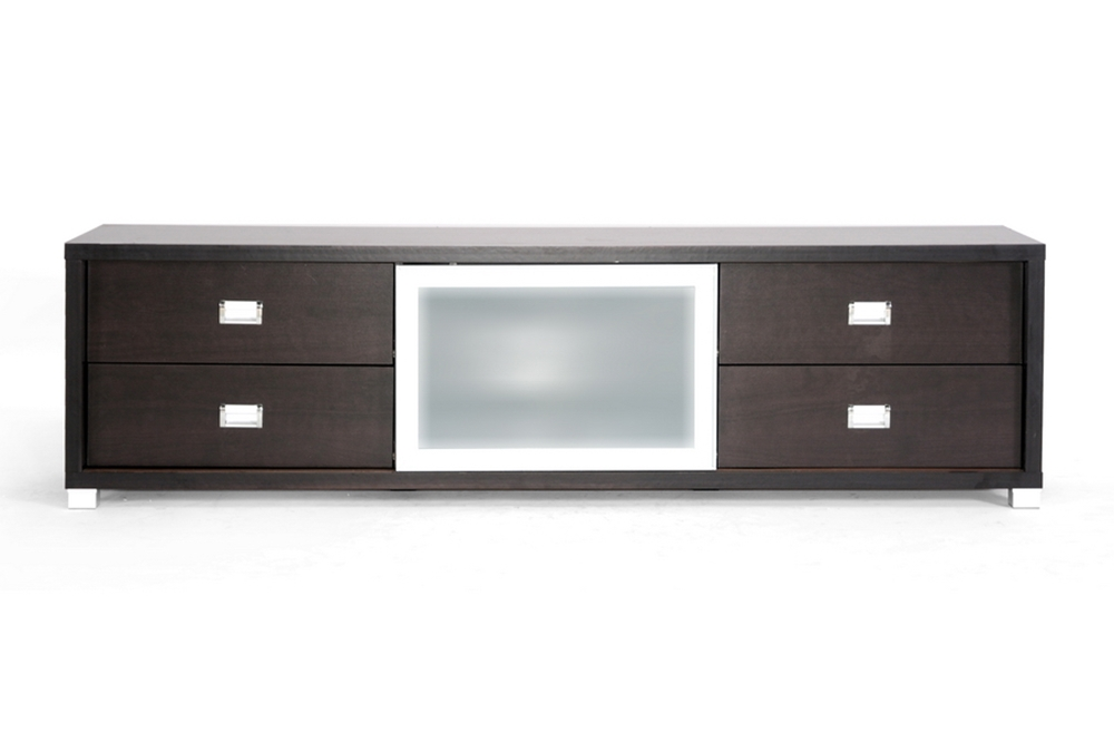 Baxton Studio Botticelli Brown Modern TV Stand with Frosted Glass Door    BSOFTV 4124. Botticelli Brown Modern TV Stand with Frosted Glass Door