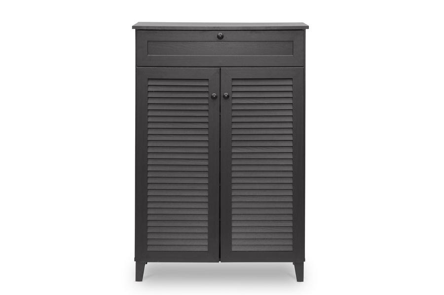 Baxton Studio Harding Espresso Shoe Storage Cabinet Affordable Modern Furniture In Chicago