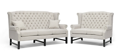 Baxton Studio Sussex Beige Linen Sofa Set ORG $1322 SALE PRICE $1190