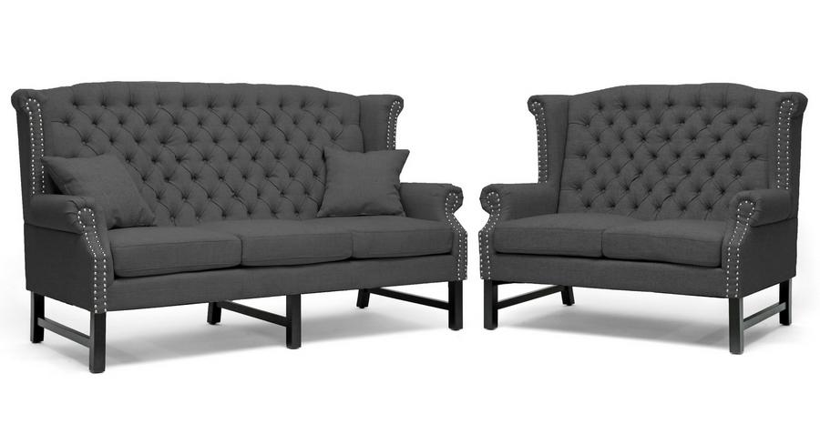 Baxton Studio Sussex Dark Gray Linen Sofa Set - BSOBH-63102-Grey Sofa Set  ...