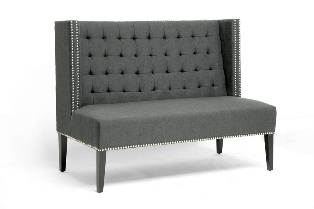Owstynn Gray Linen Modern Banquette Bench Affordable