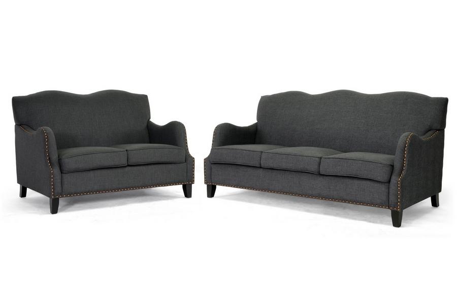 Baxton Studio Penzance Dark Gray Linen Sofa Set - BSOBH-63192-Grey Sofa Set