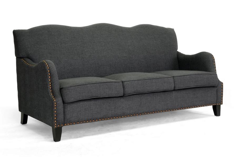 Baxton Studio Penzance Dark Gray Linen Sofa | Affordable Modern Furniture  In Chicago