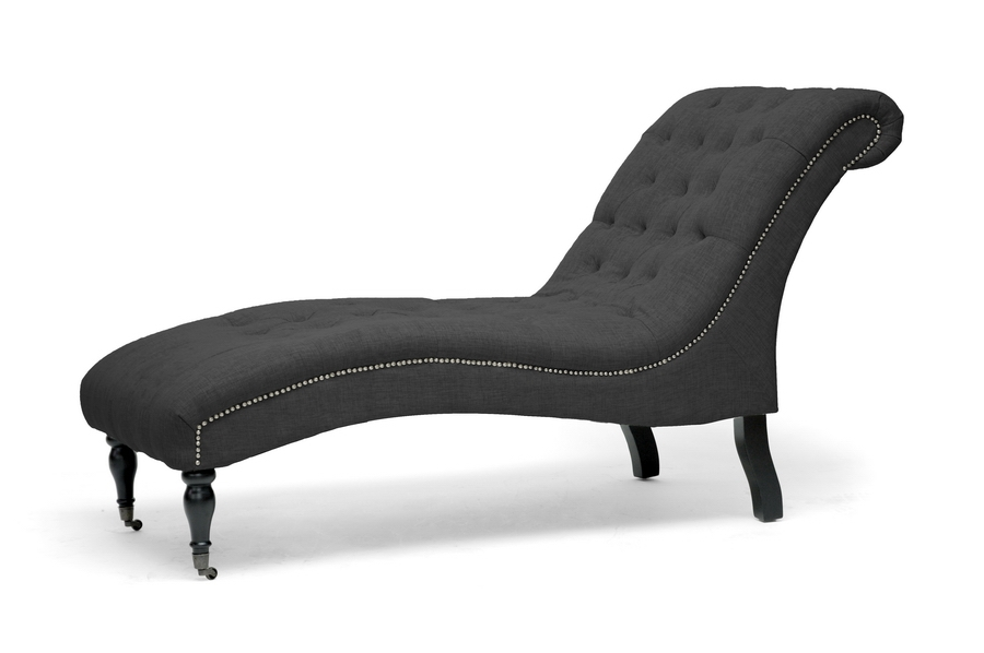 Baxton Studio Amelia Gray Linen Victorian Chaise Lounge Affordable Modern Furniture In Chicago