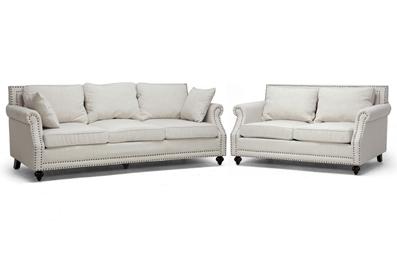 Baxton Studio Mckenna Beige Linen Modern Sofa Set ORG $1221 SALE PRICE $1099