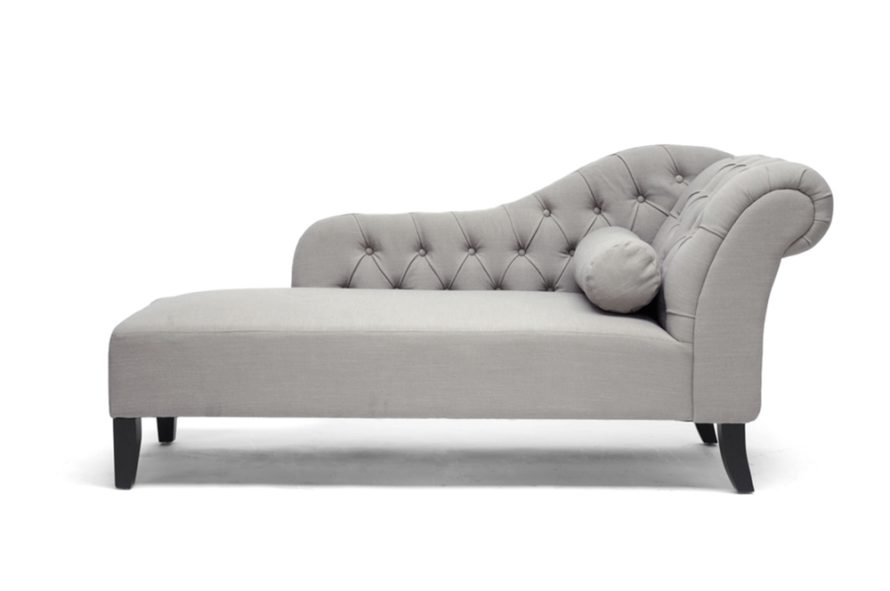 Baxton studio aphrodite tufted putty gray linen modern for Black and white chaise lounge