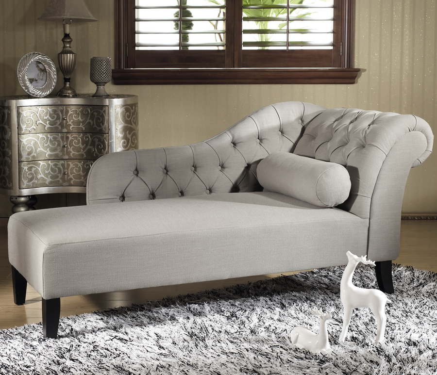 Baxton studio aphrodite tufted putty gray linen modern for Contemporary chaise lounge sofa
