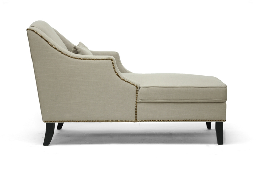 Baxton studio asteria putty gray linen modern chaise - Modern chaise lounge chairs living room ...
