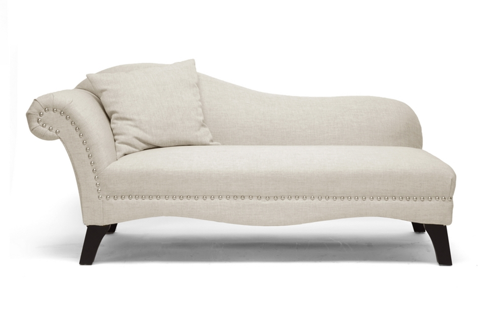 Baxton studio phoebe beige linen modern chaise lounge for Chaise lounge chicago