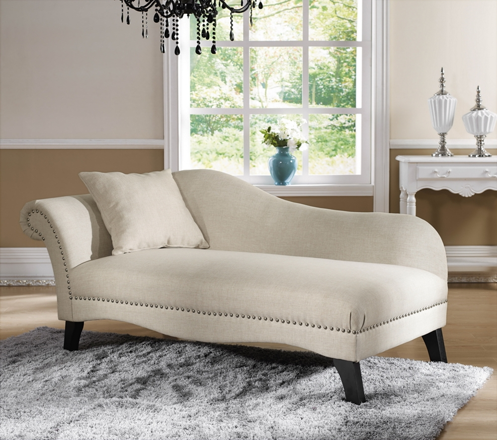 Modern chaise lounge chairs -  Baxton Studio Phoebe Beige Linen Modern Chaise Lounge Bsobh Ty333 Ac