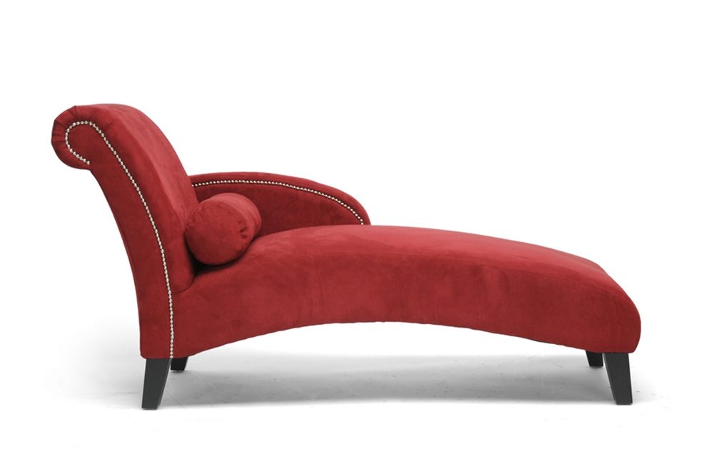 Baxton studio hestia red microfiber modern chaise lounge for Chaise longue lounge