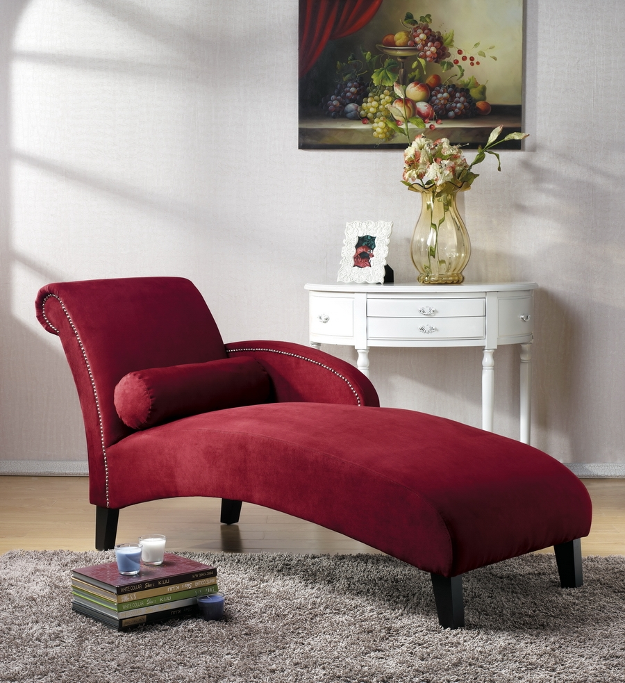 Baxton Studio Hestia Red Microfiber Modern Chaise Lounge