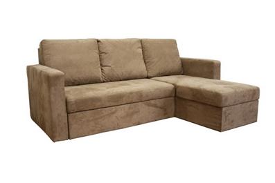 Linden Tan Microfiber Convertible Sectional Sofa Bed Affordable Modern Fu