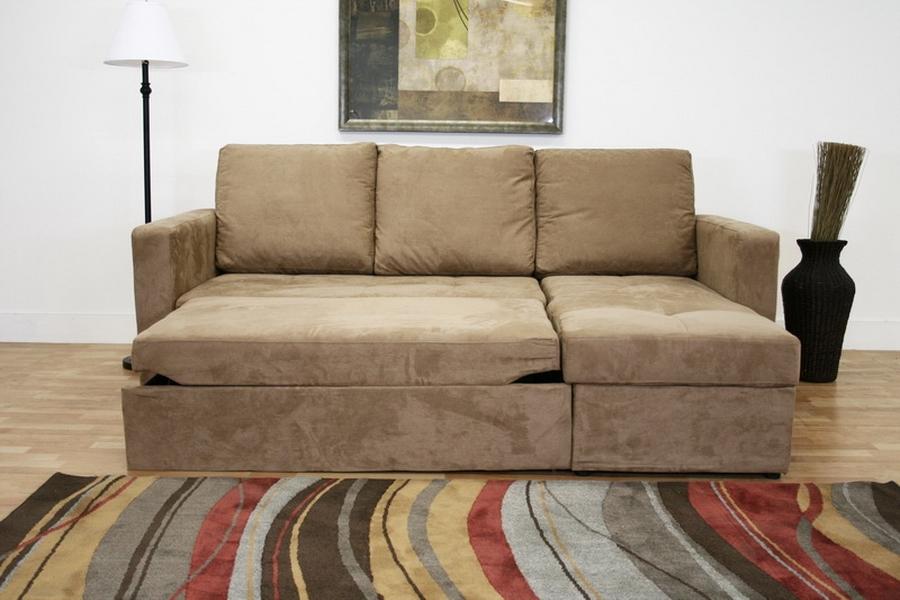 baxton studio linden tan microfiber convertible sectional sofa bed
