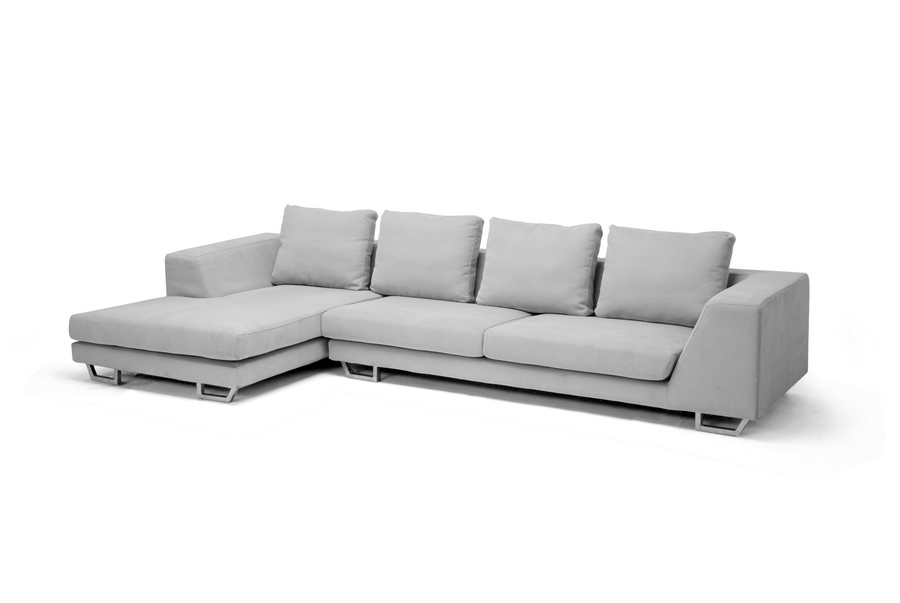Baxton Studio Abby Gray Twill Fabric Large Sectional Sofa    BSOTD6301 (A359 14A ...