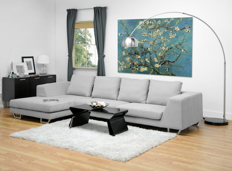 ... Baxton Studio Abby Gray Twill Fabric Large Sectional Sofa    BSOTD6301 (A359 14A