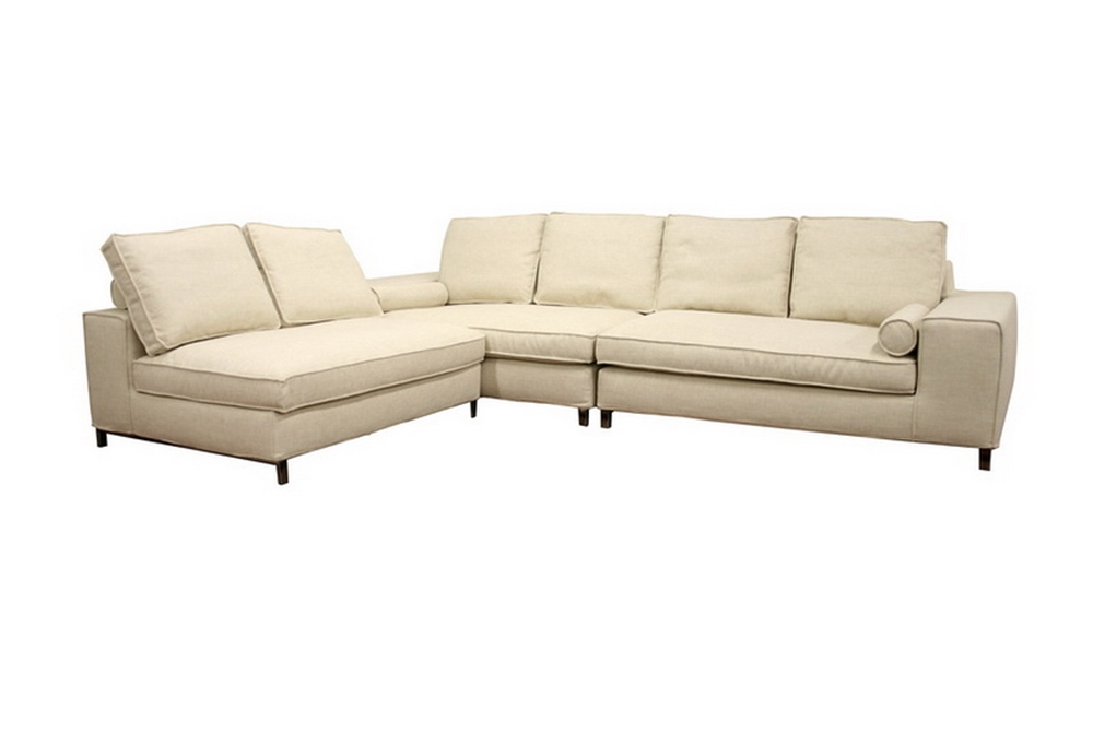 Amy Cream Fabric Large Modular Sectional Sofa With Pillows