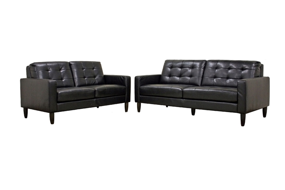 Baxton Studio Caledonia Black Leather Modern Sofa Set Bso1197 2seater Du013 L016