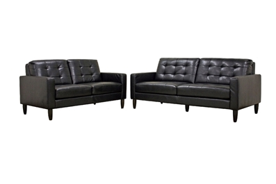 Baxton Studio Caledonia Black Leather Modern Sofa Set ORG $1145 SALE PRICE $1031