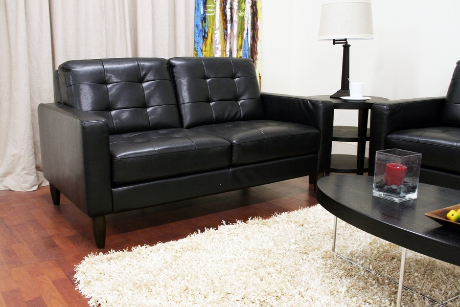 Baxton Studio Caledonia Black Leather Modern Sofa Set -  BSO1197-2seater-DU013/L016