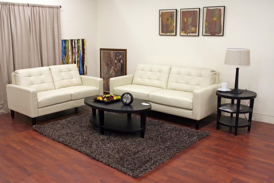 baxton studio caledonia cream leather modern sofa set
