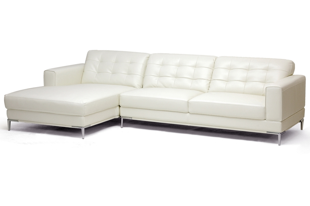 Babbitt ivory leather modern sectional sofa affordable Ivory leather living room furniture