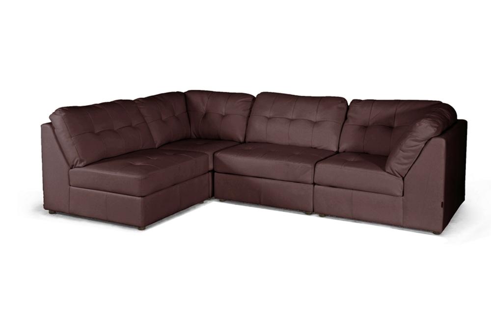 Baxton Studio Warren Brown Leather Modern Modular Sectional Sofa Set Affordable Modern