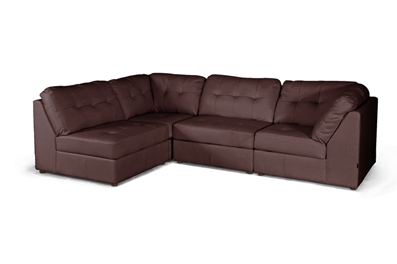Baxton Studio Warren Brown Leather Modern Modular Sectional Sofa Set ORG $778 SALE $622
