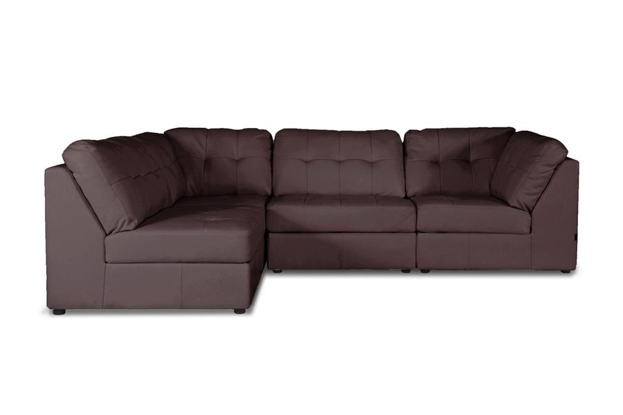 baxton studio warren brown leather modern modular sectional sofa set