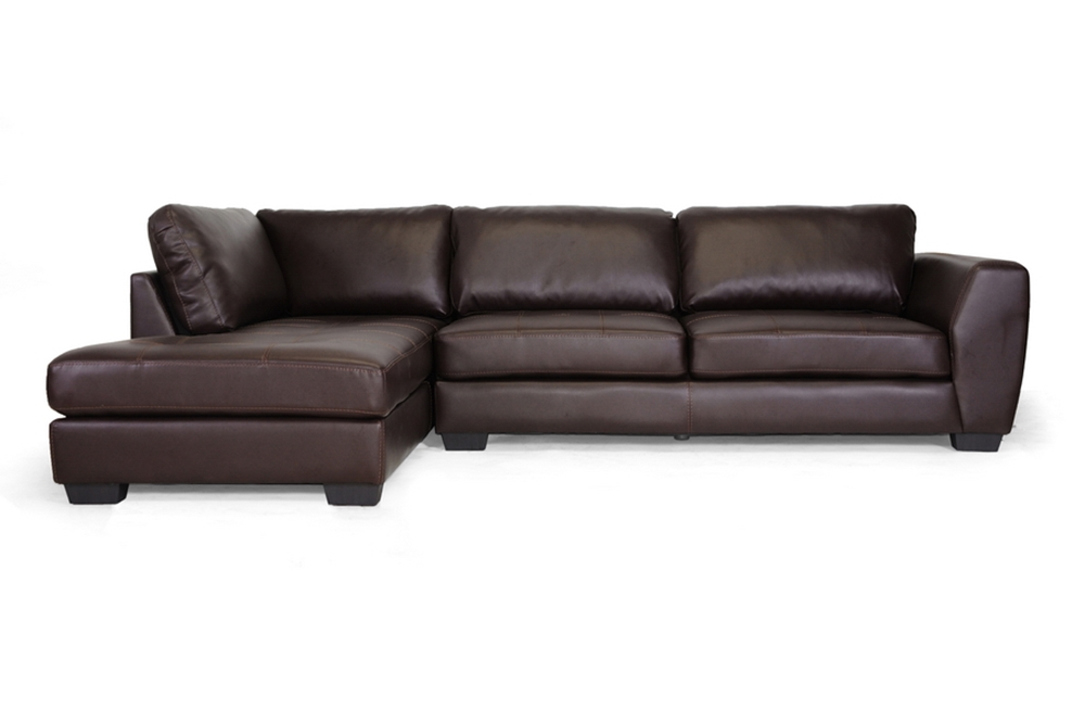 Baxton studio orland brown leather modern sectional sofa for Brown leather chaise end sofa