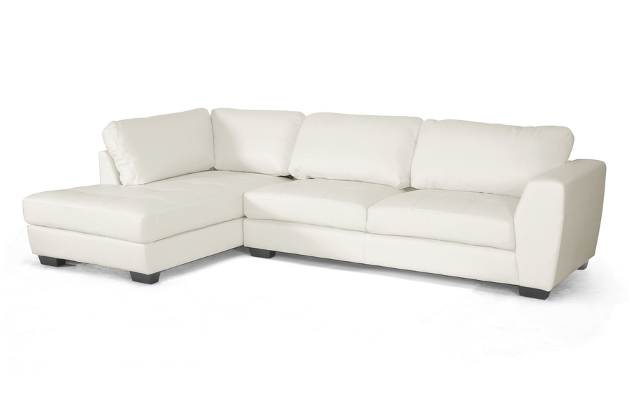 Baxton Studio Orland White Leather Modern Sectional Sofa Set with Left Facing Chaise - BSOIDS023- ...  sc 1 st  Baxton Studio Outlet : leather sectional white - Sectionals, Sofas & Couches