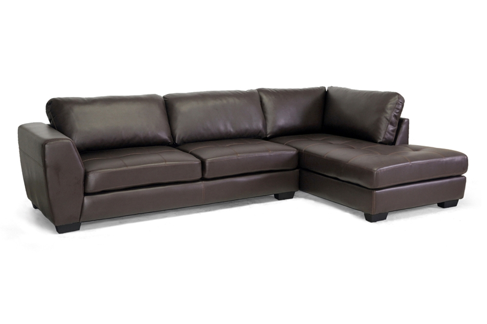 Baxton studio orland brown leather modern sectional sofa for Brown leather chaise sofa