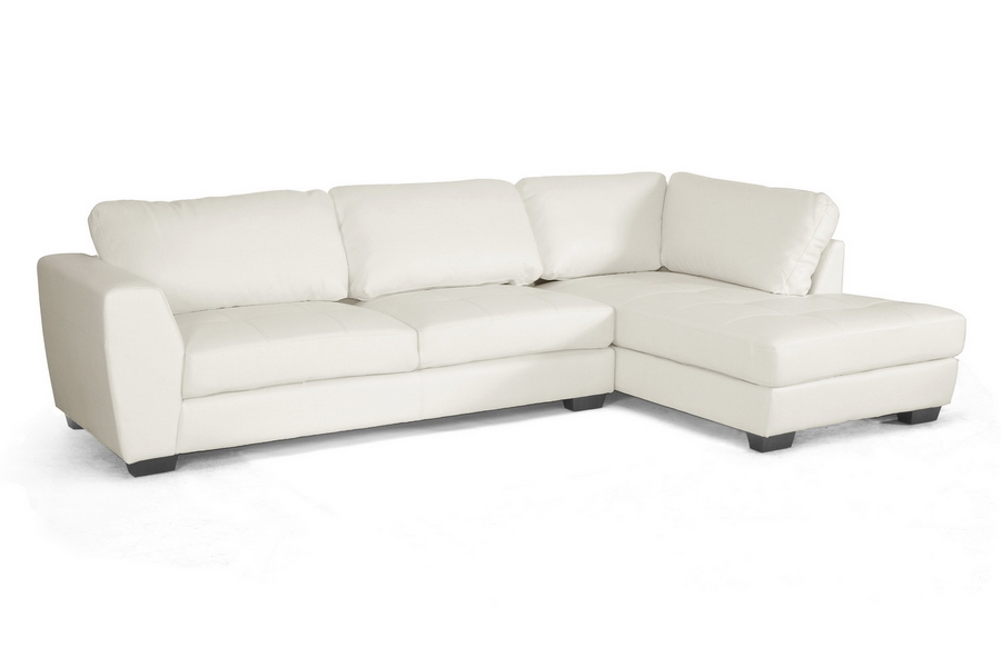 Baxton Studio Orland White Leather Modern Sectional Sofa Set With Right  Facing Chaise   BSOIDS023  ...