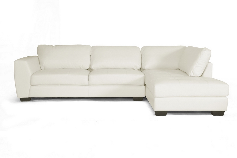 Baxton Studio Orland White Leather Modern Sectional Sofa Set With Right  Facing Chaise - BSOIDS023-