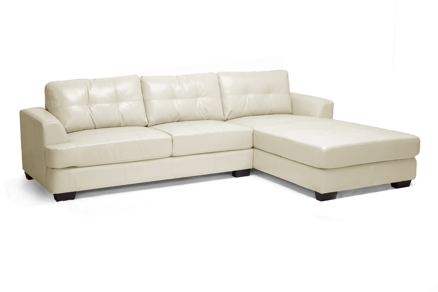 Baxton Studio Dobson Cream Leather Modern Sectional Sofa - BSOIDS070LT-SEC  RFC Cream