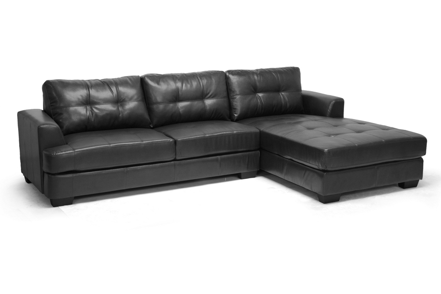 Baxton Studio Dobson Black Leather Modern Sectional Sofa ...
