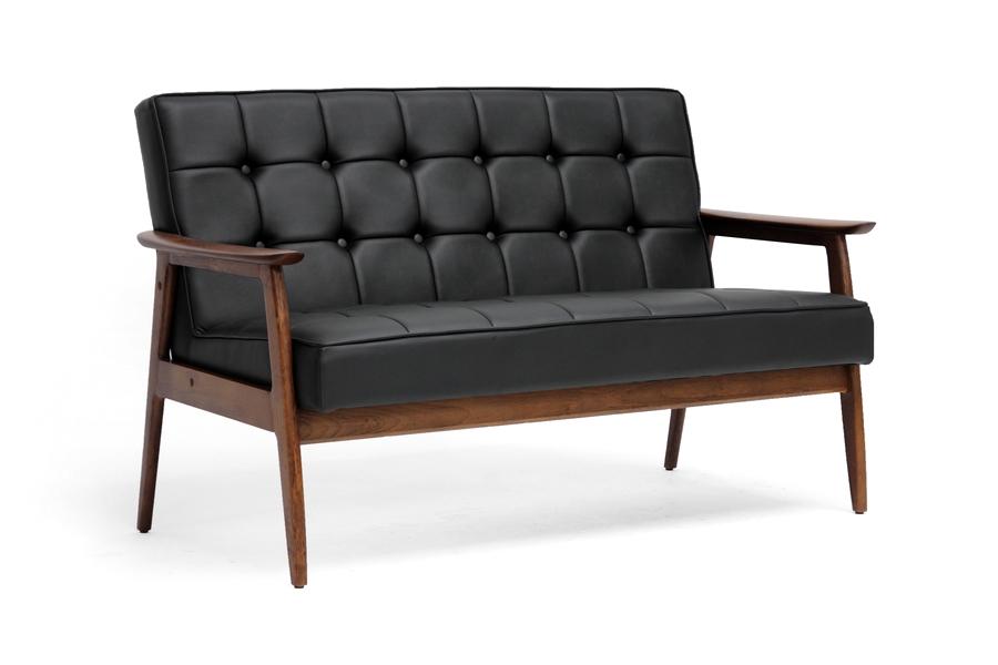 Baxton Studio Stratham Black Mid Century Modern Sofa Affordable Furniture In Chicago
