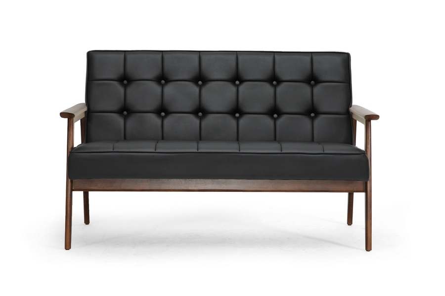 ... Baxton Studio Stratham Black Mid Century Modern Sofa   BSOWiki CN J  ...