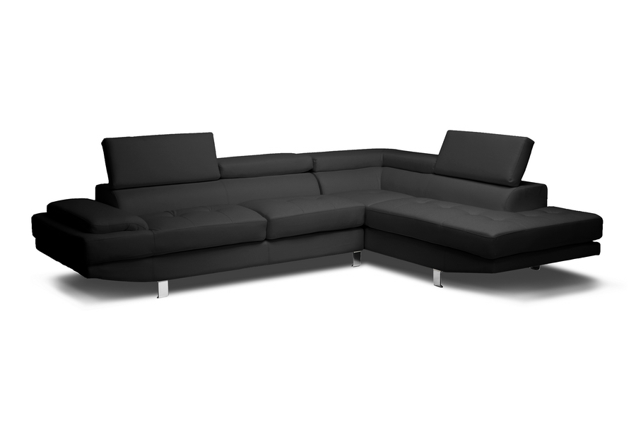 Baxton studio selma black leather modern sectional sofa for Modern and affordable furniture