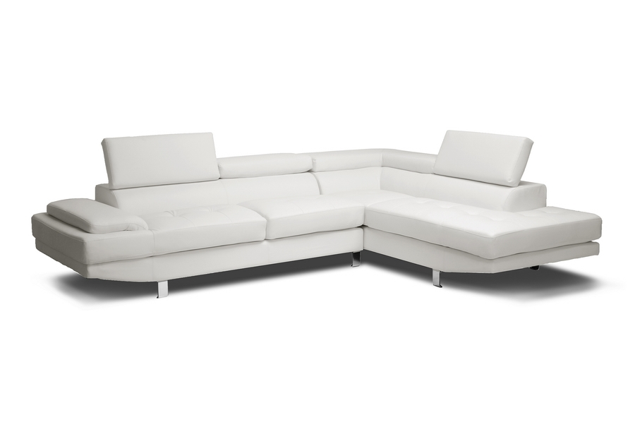 Baxton Studio Selma White Leather Modern Sectional Sofa | Affordable Modern  Furniture In Chicago