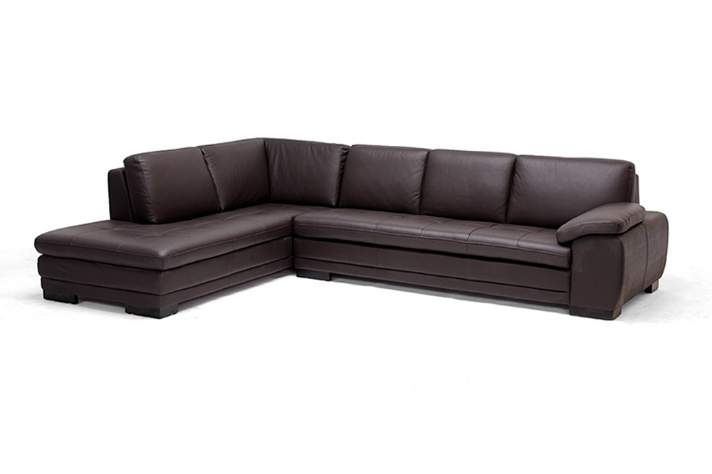 Diana dark brown sofa chaise sectional reverse for Brown leather chaise