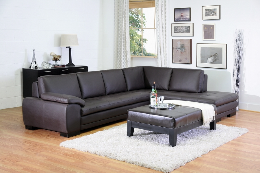 Brown leather sofa sectional with chaise : Affordable ...