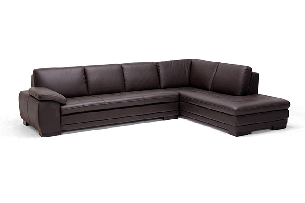 Brown leather sofa sectional with chaise affordable for Brown chaise sofa