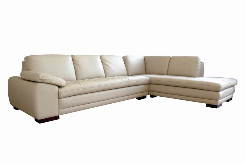 Beige Leather Sofa Sectional With Chaise | Affordable Modern Furniture In  Chicago