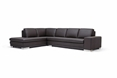 Baxton Studio Callidora Brown Leather Sectional Sofa with Left Facing Chaise affordable modern furniture in Chicago, Callidora Brown Leather Sectional Sofa with Left Facing Chaise, Living Room Furniture Chicago