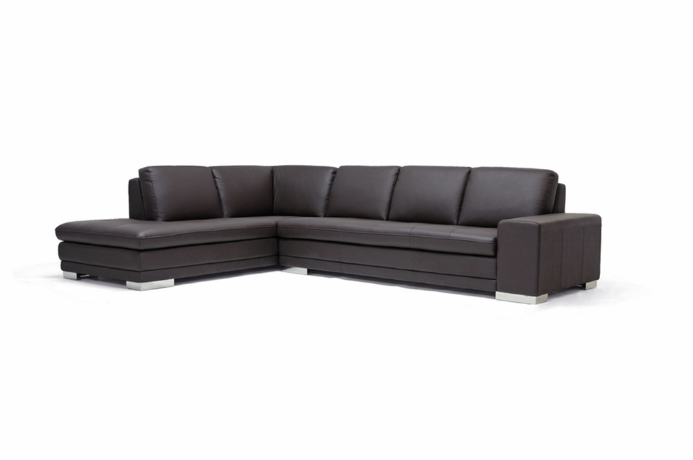 Callidora brown leather sectional sofa with left facing for Brown leather sofa with chaise lounge