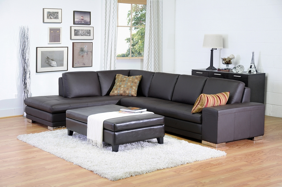 studio brown leather sectional sofa left facing chaise modern and ottoman set aria fabric white
